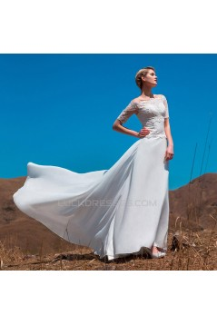 A-line Off the Shoulder Short Sleeves Lace Chiffon Bridal Wedding Dresses WD010510