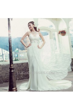 Sheath/Column Lace and Chiffon Bridal Wedding Dresses WD010513