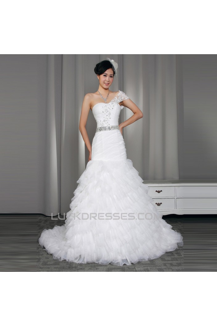 Trumpet/Mermaid One Shoulder Beaded Bridal Wedding Dresses WD010519