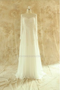 Sheath/Column Beaded Long Sleeves Lace Chiffon Bridal Wedding Dresses WD010525