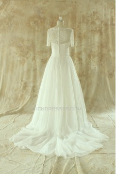 A-line Short Sleeves Chiffon and Lace Bridal Wedding Dresses WD010526