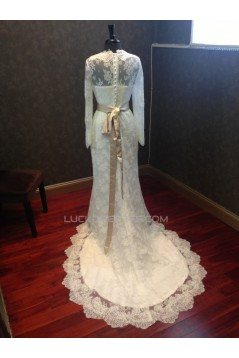 Trumpet/Mermaid Long Sleeves Lace Bridal Wedding Dresses WD010542