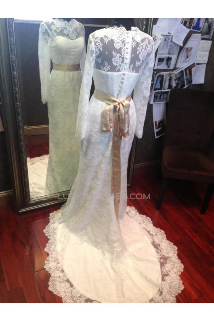 Trumpet/Mermaid Long Sleeves Lace Bridal Wedding Dresses WD010542