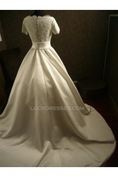 Ball Gown Short Sleeves Lace Bridal Wedding Dresses WD010543