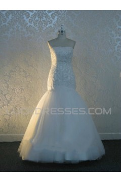 Trumpet/Mermaid Strapless Lace Bridal Wedding Dresses WD010548