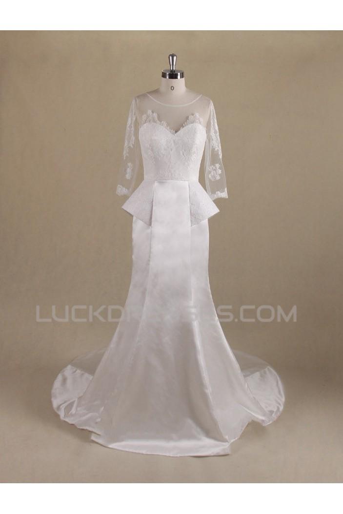 Trumpet/Mermaid 3/4 Sleeves Lace Bridal Wedding Dresses WD010553