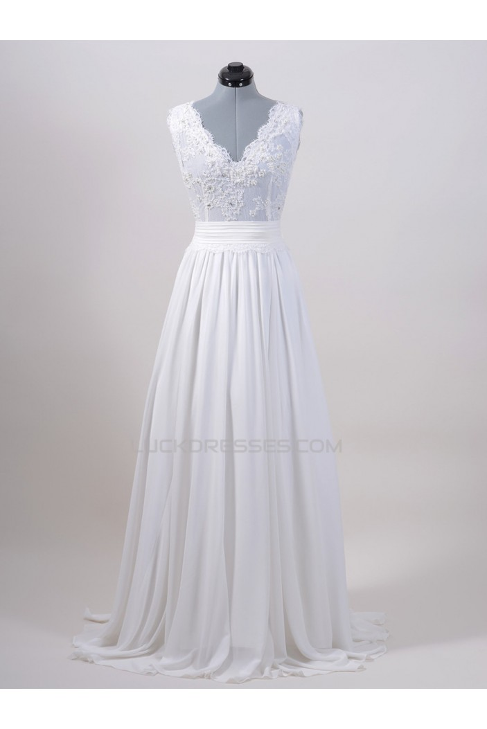 A-line V-neck Chiffon and Lace Bridal Wedding Dresses WD010555