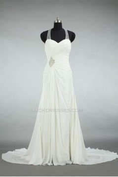 Sheath/Column Halter Beaded Chiffon Bridal Wedding Dresses WD010556