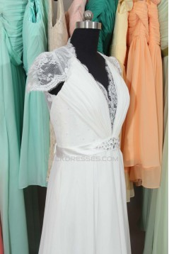 Elegant V-neck Cap Sleeves Chiffon and Lace Bridal Wedding Dresses WD010558