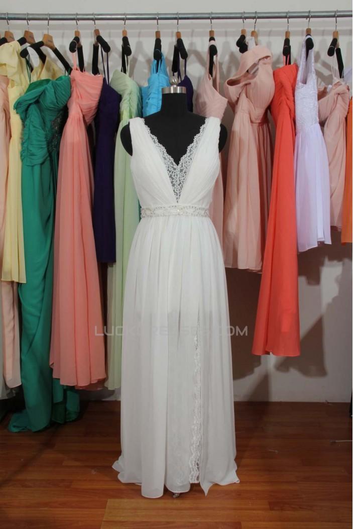 Sheath/Column V-neck Beaded Chiffon and Lace Bridal Wedding Dresses WD010559