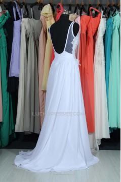 A-line V-neck Chiffon and Lace Bridal Wedding Dresses WD010561