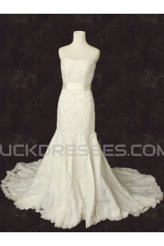 Trumpet/Mermaid Strapless Lace Bridal Wedding Dresses WD010564