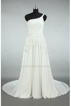 A-line One Shoulder Beaded Appliques Bridal Wedding Dresses WD010566