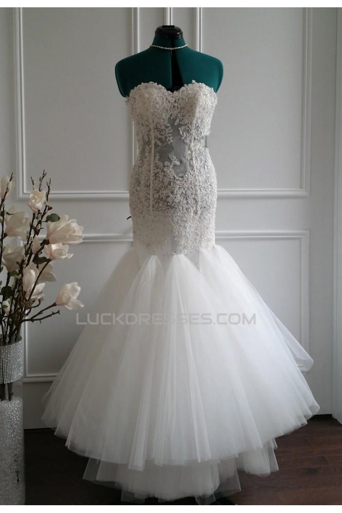 Trumpet/Mermaid Sweetheart Beaded Lace Bridal Wedding Dresses WD010569