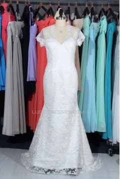 Trumpet/Mermaid V-neck Short Sleeves Lace Bridal Wedding Dresses WD010571