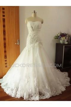 Trumpet/Mermaid Strapless Lace Bridal Wedding Dresses WD010572