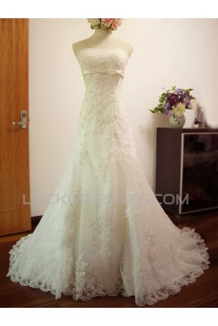 A-line Strapless Lace Bridal Wedding Dresses WD010573