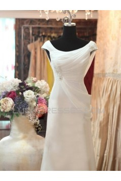 Sheath/Column Off the Shoulder Bridal Wedding Dresses WD010575