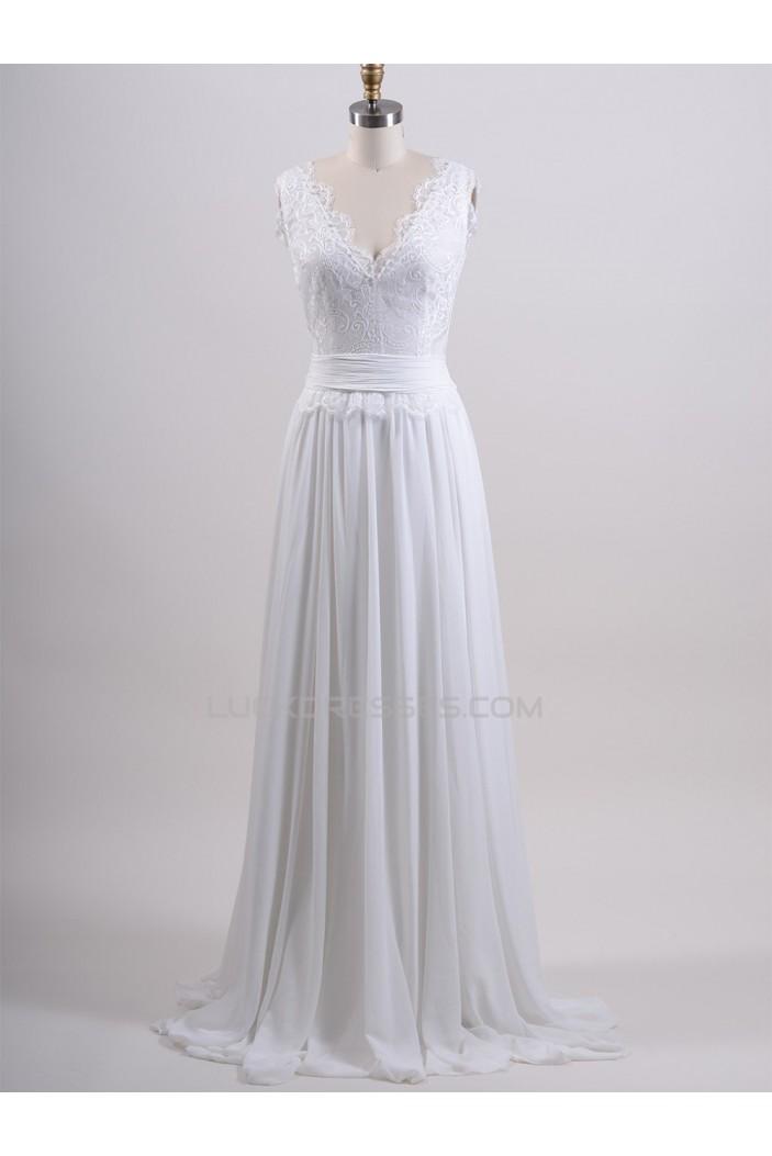 Elegant V-neck Chiffon and Lace Bridal Wedding Dresses WD010576