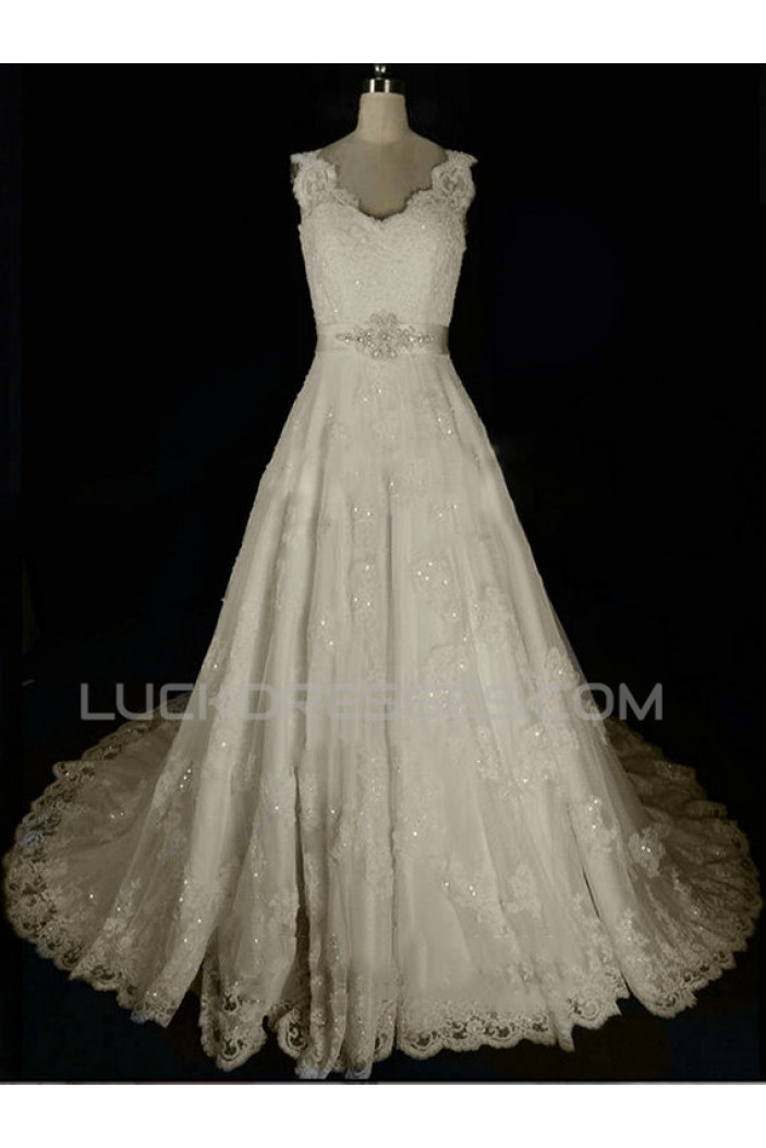 A-line Beaded Lace Bridal Wedding Dresses WD010581