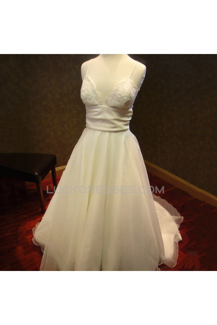A-line Spaghetti Strap Lace Bridal Wedding Dresses WD010590