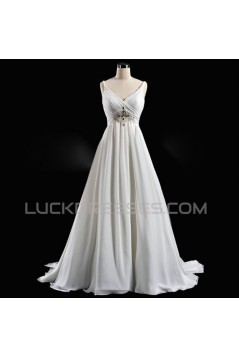 A-line V-neck Beaded Bridal Wedding Dresses WD010592