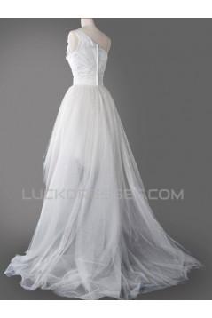 High Low One Shoulder Bridal Wedding Dresses WD010593
