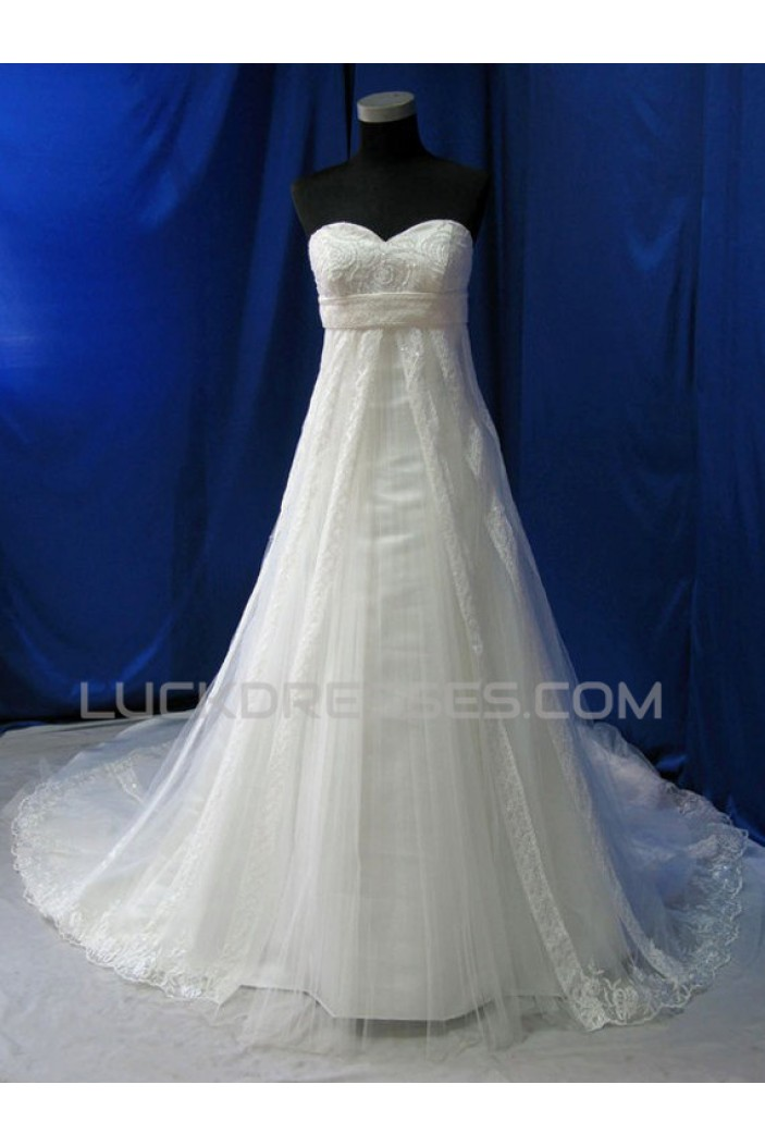 Empire Sweetheart Lace Maternity Bridal Wedding Dresses WD010600