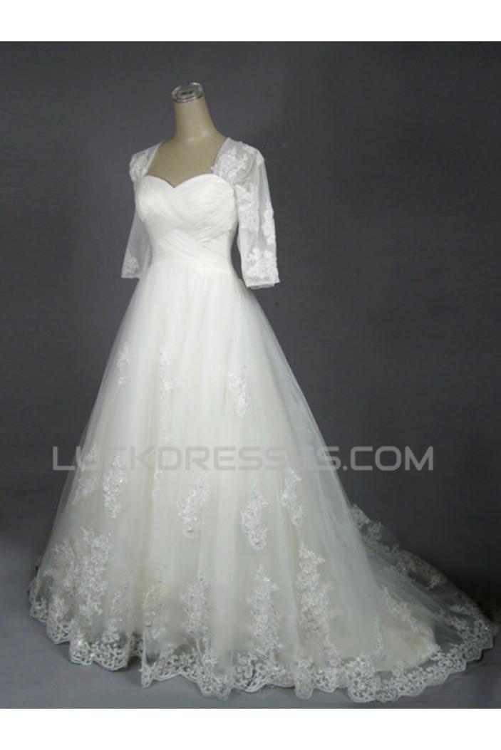 A-line Half Sleeves Lace Bridal Wedding Dresses WD010602