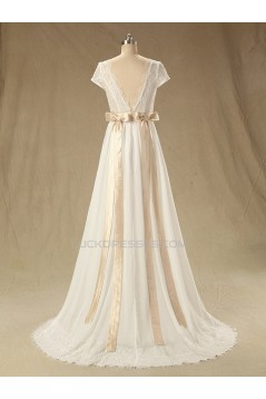 A-line Short Sleeves Chiffon and Lace Bridal Wedding Dresses WD010608