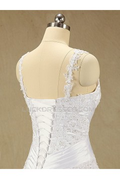 A-line Straps Lace and Chiffon Bridal Wedding Dresses WD010610