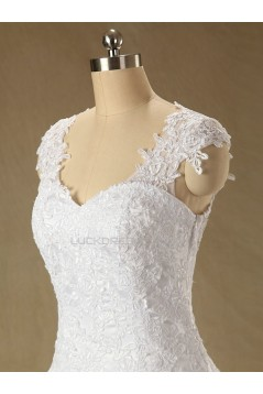 A-line Cap Straps Lace Bridal Wedding Dresses WD010611