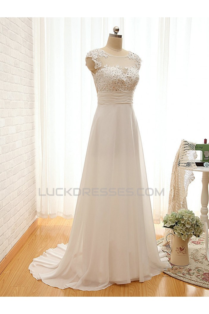A-line Lace and Chiffon Bridal Wedding Dresses WD010612