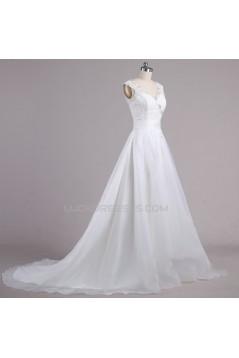 A-line V-neck Beaded Lace Bridal Wedding Dresses WD010617