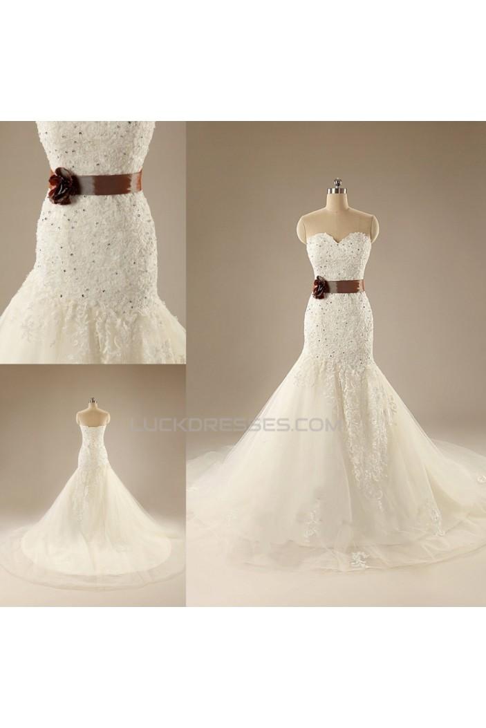 Trumpet/Mermaid Sweetheart Lace Bridal Wedding Dresses WD010619