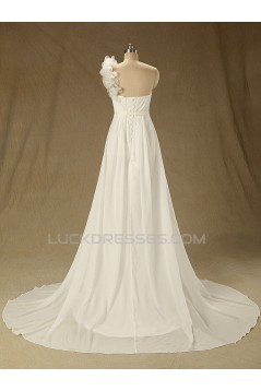 A-line One Shoulder Chiffon Bridal Wedding Dresses WD010622