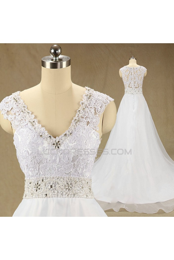 A-line V-neck Beaded Lace Bridal Wedding Dresses WD010625