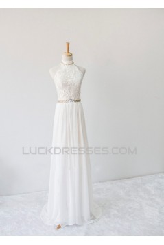 A-line Halter Beaded Lace and Chiffon Bridal Wedding Dresses WD010628