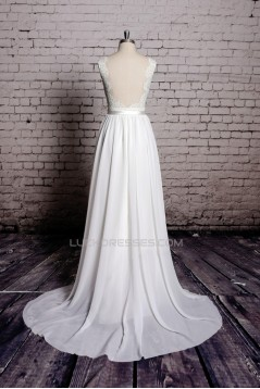 A-line Straps Lace and Chiffon Bridal Wedding Dresses WD010631