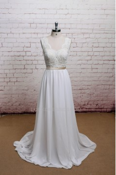 A-line Straps Lace and Chiffon Bridal Wedding Dresses WD010632