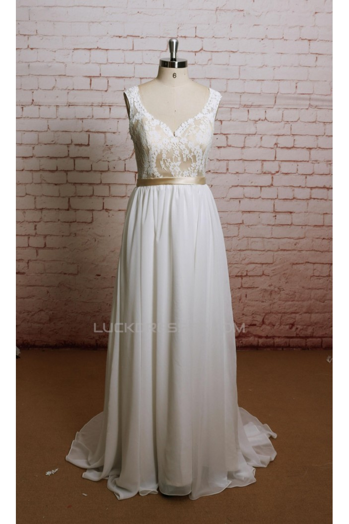 A-line Straps Lace and Chiffon Bridal Wedding Dresses WD010633