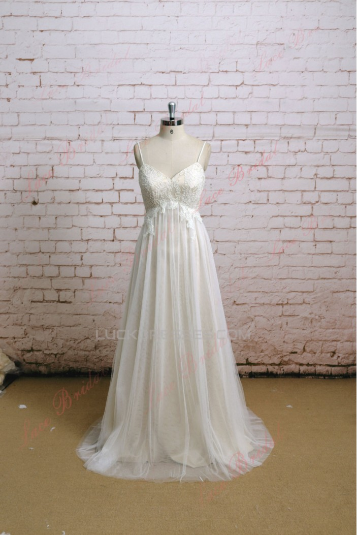 A-line Spaghetti Strap Lace Bridal Wedding Dresses WD010636