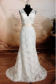 Trumpet/Mermaid V-neck Lace Bridal Wedding Dresses WD010637