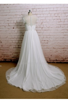 A-line Lace Cap Sleeves Bridal Wedding Dresses WD010648