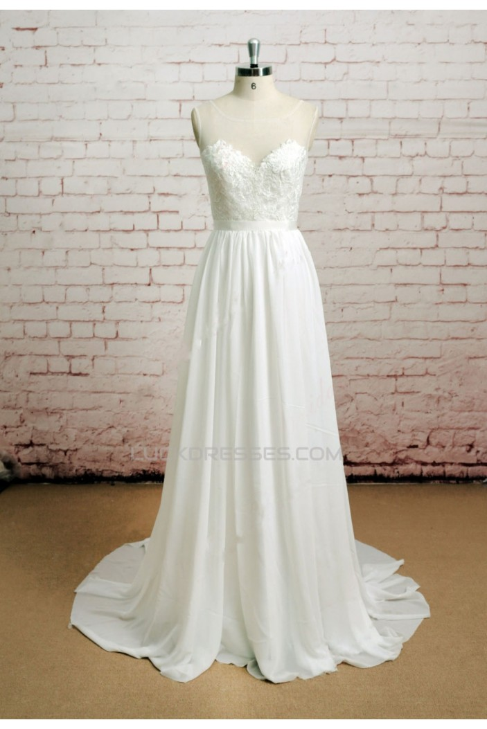 A-line Chiffon and Lace Bridal Wedding Dresses WD010650
