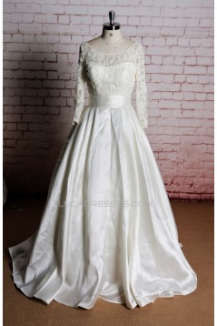 A-line Long Sleeves Lace Bridal Wedding Dresses WD010652