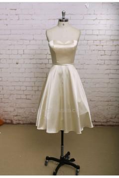 A-line Sweetheart Short Satin Bridal Wedding Dresses WD010663