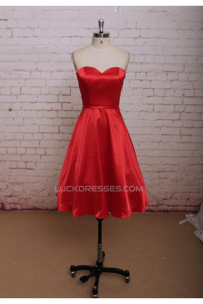 A-line Sweetheart Short Satin Bridal Wedding Dresses WD010664