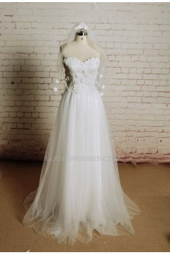 A-line Sweetheart Lace and Tulle Bridal Wedding Dresses WD010666