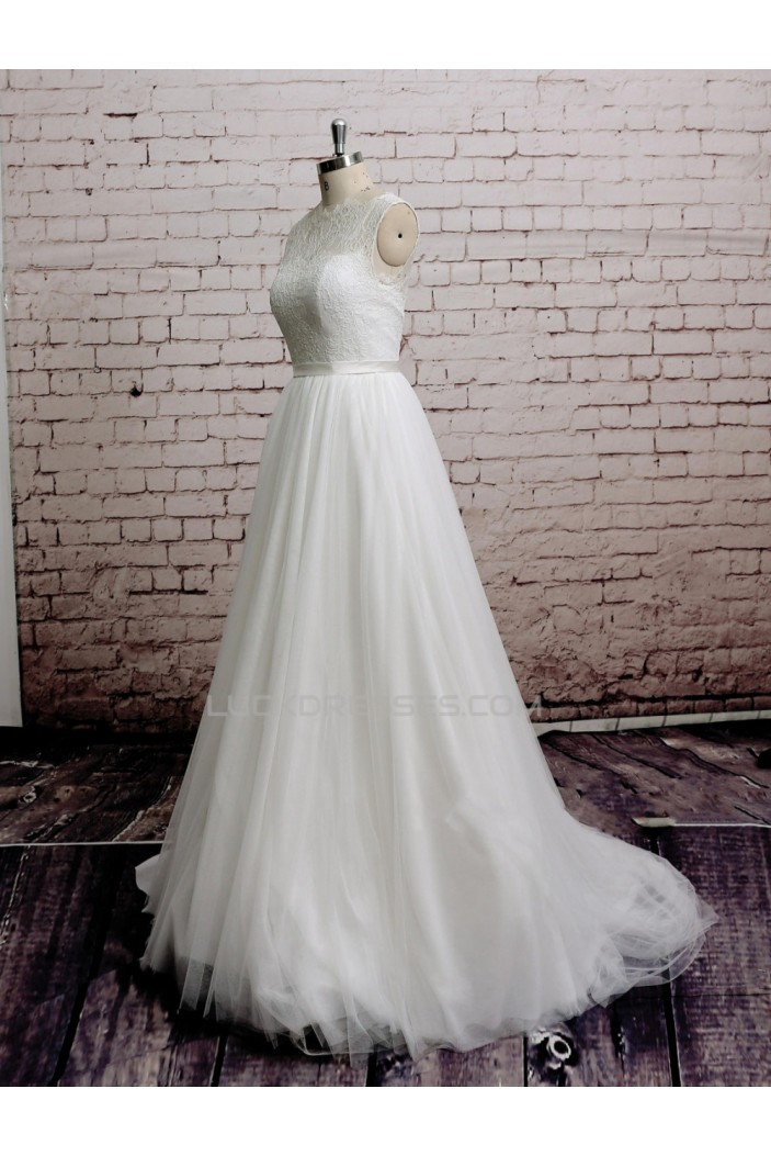 A-line Lace and Tulle Bridal Wedding Dresses WD010672